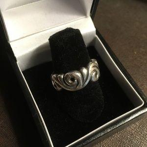 Sterling Silver Swirls Ring Sz 6.75